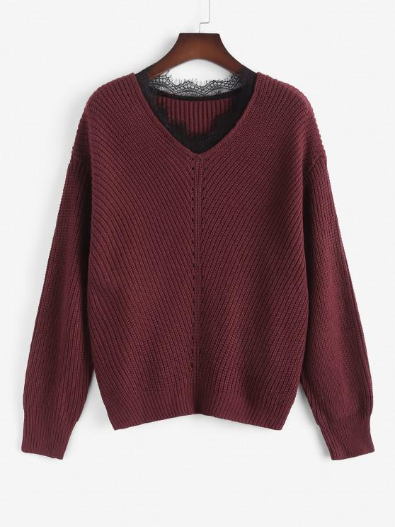 chic ZAFUL Plus Size V Neck Lace Trim Sweater - DEEP RED 3XL