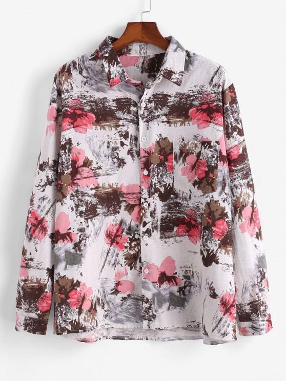 chic Flower Ink Painting Print Pocket Shirt - MULTI 3XL