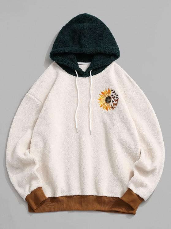 Flower Butterfly Embroidered Faux Shearling Hoodie - أبيض L