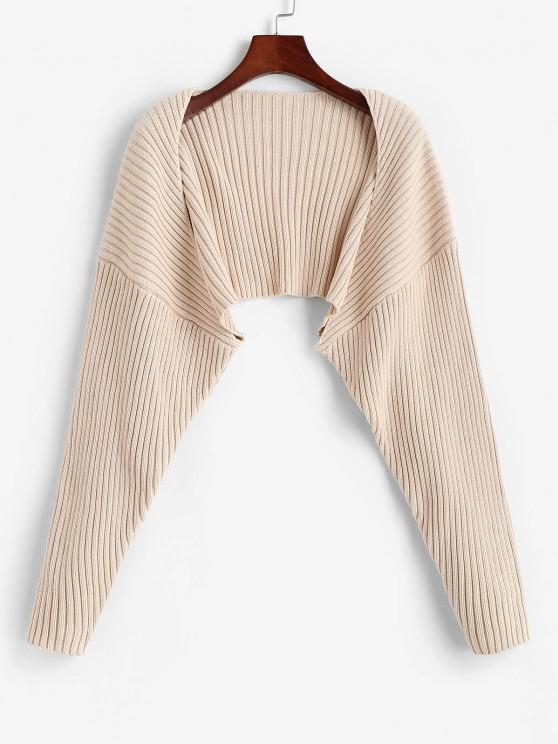 new Solid Ribbed Shrug Cardiagn - LIGHT COFFEE S