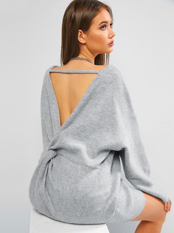 hot ZAFUL Fleece Twisted Cutout Oversized Tunic Sweater - LIGHT GRAY S