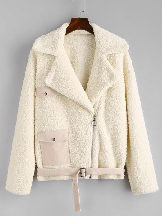 chic ZAFUL Faux Fur Suede Panel Teddy Coat - WARM WHITE S