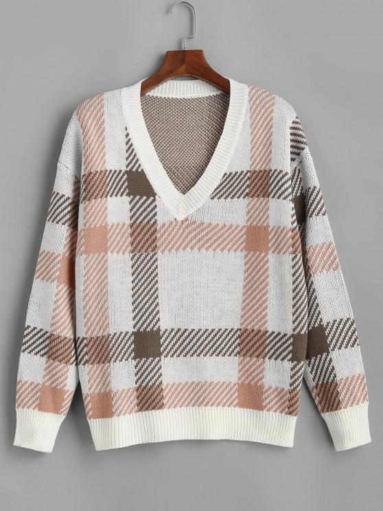 womens ZAFUL V Neck Ribbed Trim Plaid Plus Size Sweater - WHITE 3XL