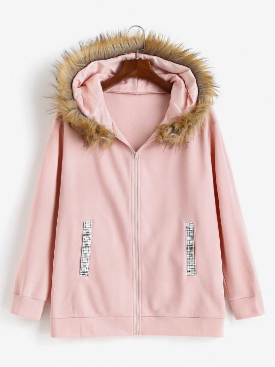 hot ZAFUL Zip Up Pockets Fur Collar Plus Size Hoodie - LIGHT PINK XL