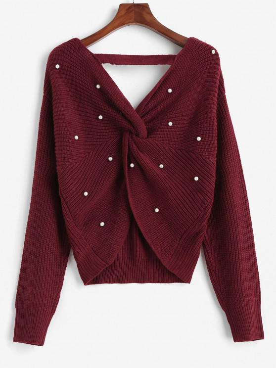 womens ZAFUL V Neck Faux Pearls Twisted Back Plus Size Sweater - RED L