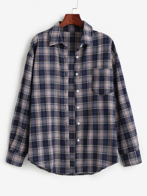 outfits Plaid Pocket Boyfriend Shirt - DARK SLATE BLUE M