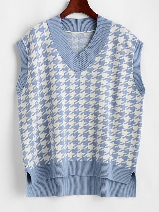 ladies Houndstooth Stepped Hem Sweater Vest - LIGHT BLUE L