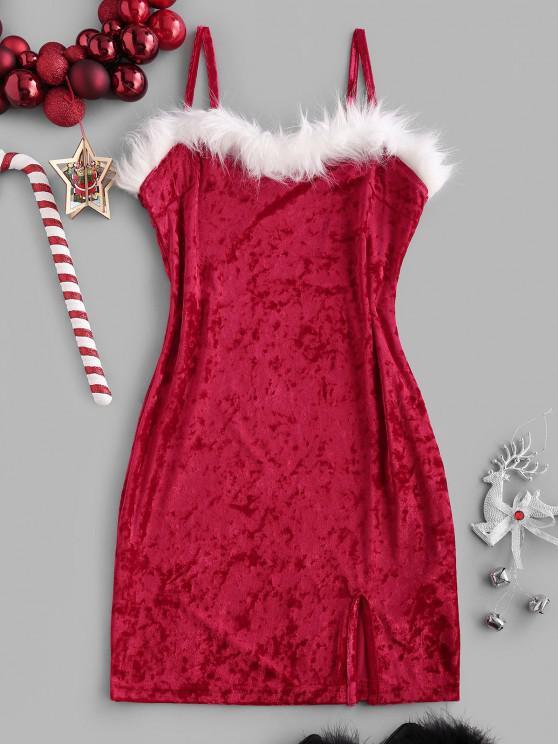 chic Christmas Faux Fur Insert Velvet Slit Bodycon Dress - RED S