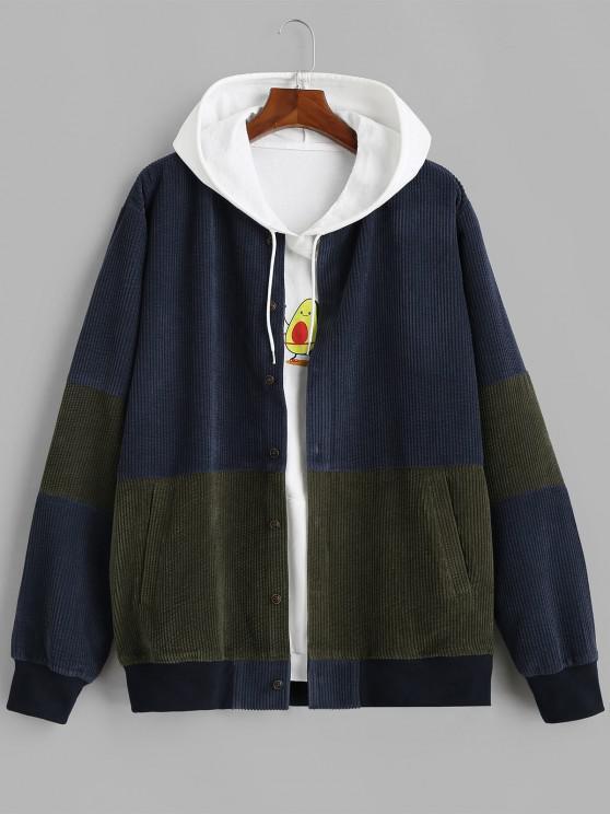 fashion Button Up Contrast Corduroy Jacket - DEEP BLUE L