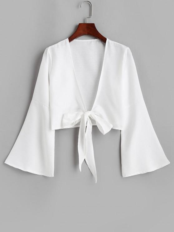 women's Tie Front Bell Sleeve Crop Cover-up - WHITE M