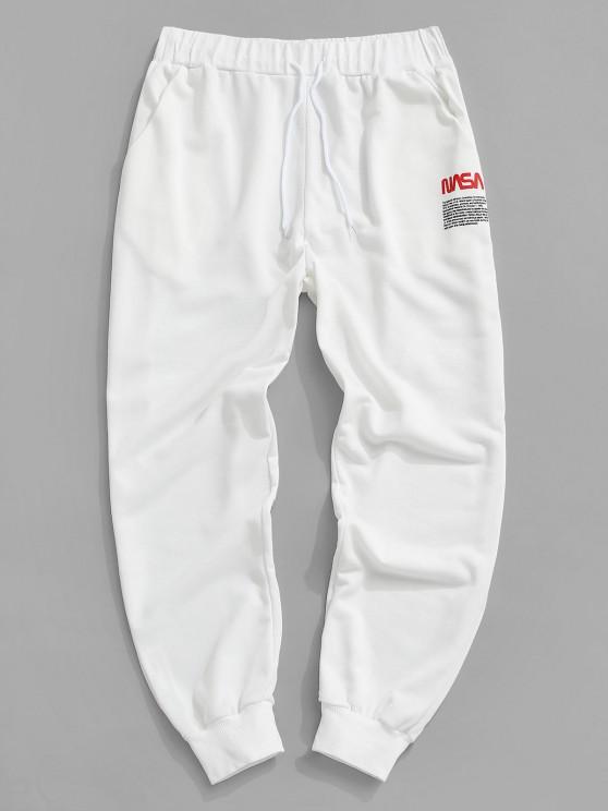 Pantalones Jogger con Estampado de Letras - Blanco XXL