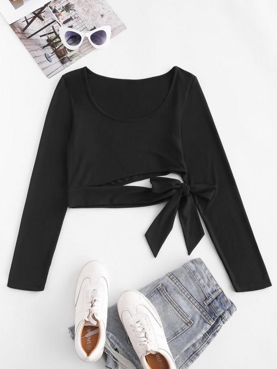 outfit ZAFUL Cutout Tie Long Sleeve Crop Tee - BLACK M