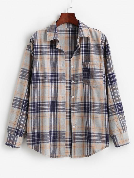 sale Plaid Pocket Boyfriend Shirt - ORANGE GOLD M