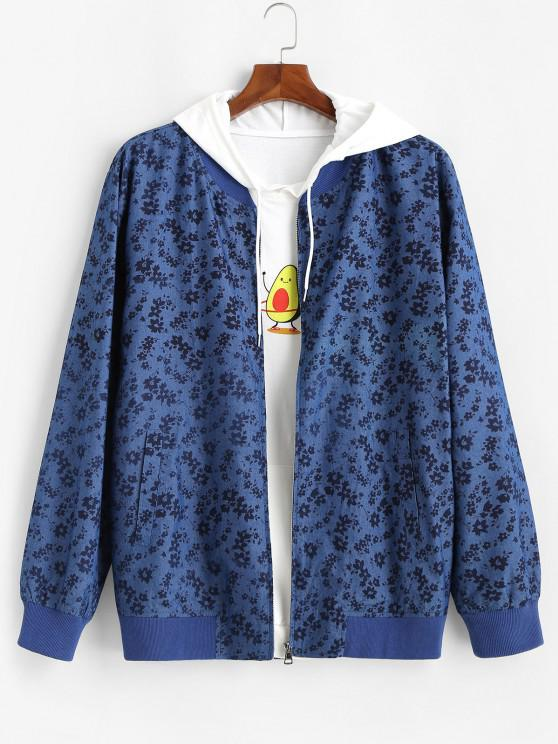 fashion Floral Allover Print Zip Up Jacket - BLUE S