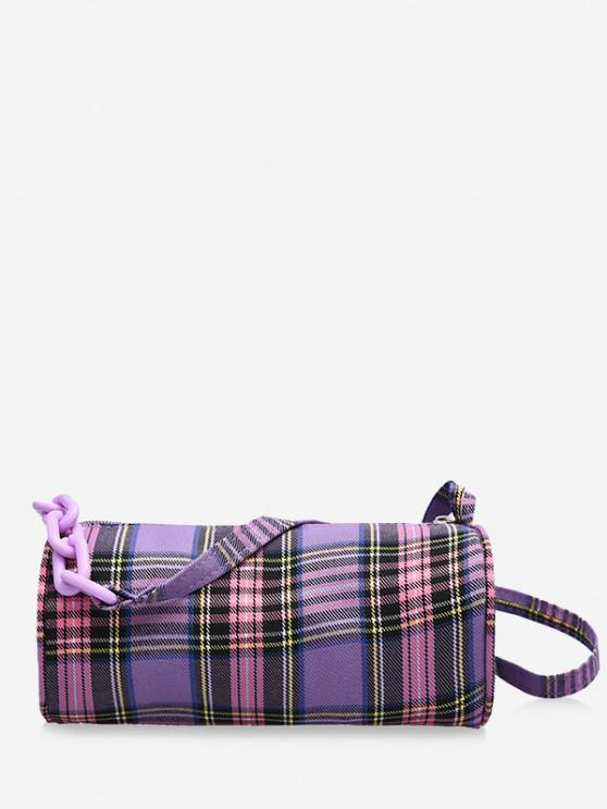 Retro Plaid Print Crossbody Bag - خبازي