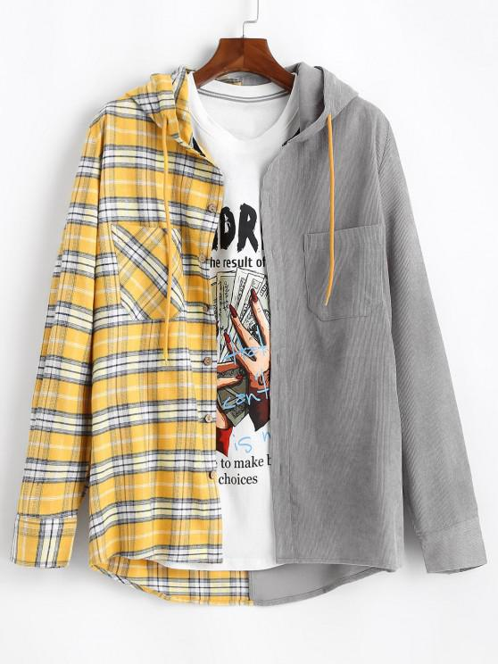chic Plaid Colorblock Patchwork Hooded Shirt Jacket - YELLOW L