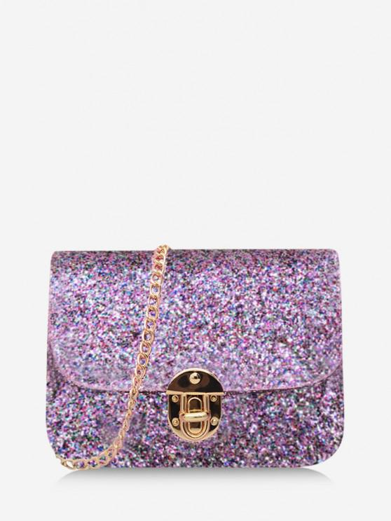women's Sequined Cover Chain Crossbody Bag - MAUVE