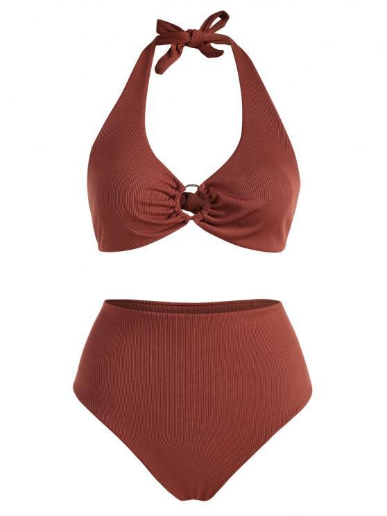 ZAFUL Übergröße Gerippte Ring Bikini Badebekleidung - Kaffee XL