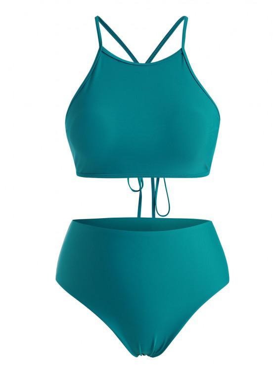 women's ZAFUL Plus Size High Neck Back Crisscross Lace-up Bikini Swimwear - DEEP GREEN XL