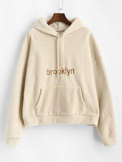 Front Pocket Oversized Brooklyn Embroidered Teddy Hoodie - Light Coffee