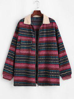 ZAFUL Flap Pockets Tribal Print Fleece Lined Jacket - Deep Red M