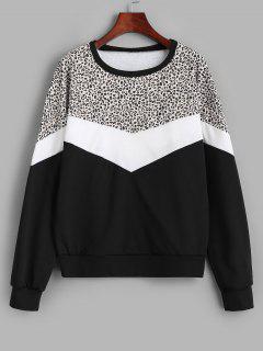 Farbblock Leopard Panel Sweatshirt - Schwarz M