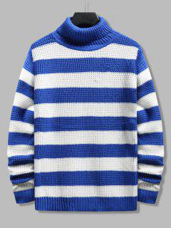 Turtleneck Striped Knit Sweater - Blue Xs