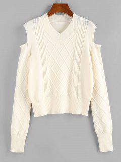 ZAFUL Cold Shoulder Rhombus Cable Knit Jumper Sweater - Light Coffee S