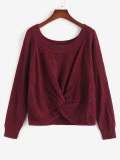 ZAFUL Plus Size Twist Front Raglan Sleeve Sweater - Deep Red L