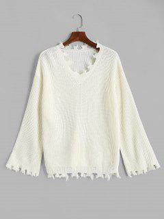 ZAFUL V Neck Frayed Ripped Plus Size Sweater - White L