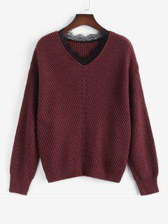 ZAFUL Übergröße Pullover Mit V Ausschnitt Und Spitzenbesatz - Tiefrot L