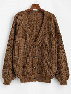 ZAFUL Button Up Lantern Sleeve Chunky Plus Size Cardigan - Coffee 3xl