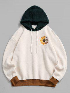 Flower Butterfly Embroidered Faux Shearling Hoodie - White M