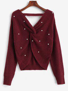 ZAFUL V Ausschnitt Künstliche Perlen Verdrehte Übergröße Sweatshirt - Rot 2xl