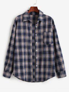 Plaid Pocket Boyfriend Shirt - Dark Slate Blue S