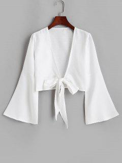 Tie Front Bell Sleeve Crop Cover-up - White 2xl