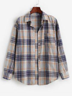 Plaid Pocket Boyfriend Shirt - Orange Gold M