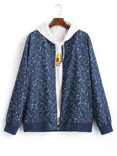 Stone Print Zip Fly Jacket - Blue L