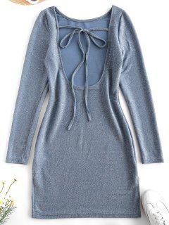 Metallic Thread Open Back Tie Bodycon Glitter Dress - Light Blue M