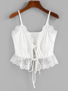 ZAFUL Lace Insert Tie Front Ribbed Camisole - White M