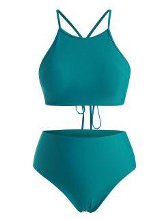 ZAFUL Plus Size High Neck Back Crisscross Lace-up Bikini Swimwear - Deep Green Xxxl