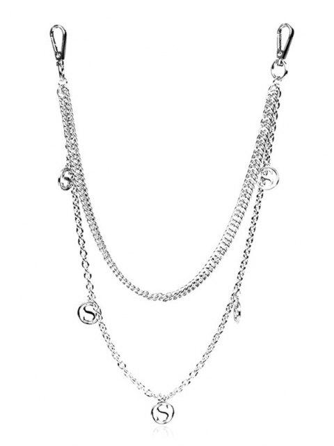 fashion Alphabet Pendant Waist Chain - SILVER  Mobile