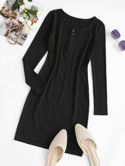 best Long Sleeve Ribbed Button Front Dress - BLACK S Mobile