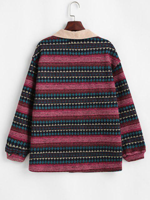 ZAFUL Chaqueta de Lana con Bolsillos de Solapa y Estampado Tribal - Color rojo oscuro XL Mobile