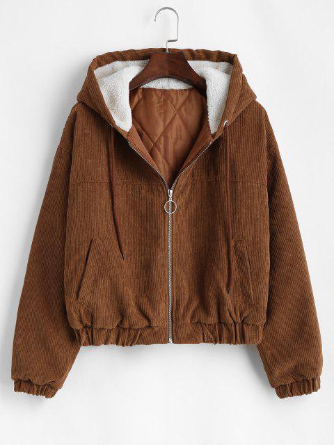 women Zip Up Fleece Hood Corduroy Jacket - COFFEE S Mobile