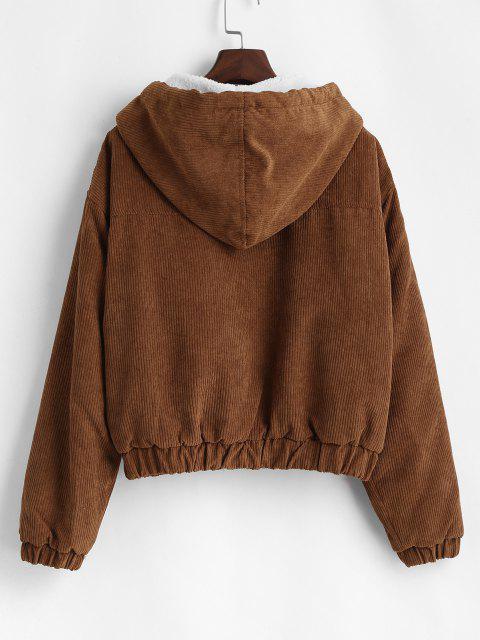 Zip Up Fleece Hood Corduroy Jacket - قهوة XL Mobile