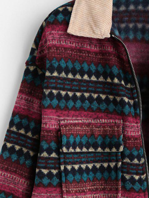 affordable ZAFUL Flap Pockets Tribal Print Fleece Lined Jacket - DEEP RED S Mobile