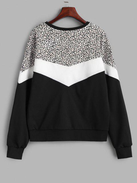 Sudadera con Estampado de Leopardo de Bloqueo de Color - Negro S Mobile