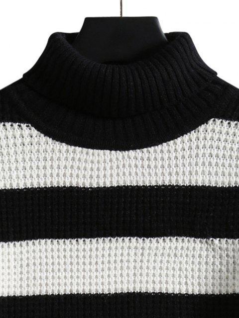 shops Turtleneck Striped Knit Sweater - BLACK M Mobile