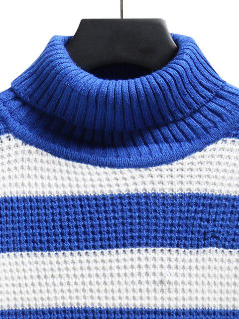 chic Turtleneck Striped Knit Sweater - BLUE S Mobile